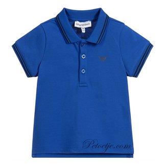 EMPORIO ARMANI Boys Blue Cotton Polo Shirt