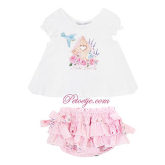 BALLOON CHIC Baby Wit & Roze Bloomer Set