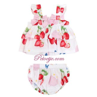 BALLOON CHIC Baby White & Pink Strawberry Bloomer Set