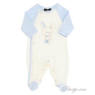 MONNALISA Boys Ivory & Blue Babygrow