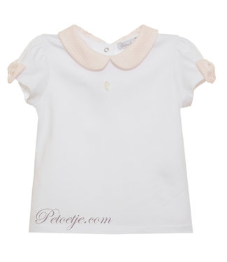 PATACHOU Girls White Top Pink Collar