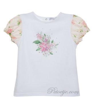 PATACHOU Meisjes Witte Bloemen Plumeti Top