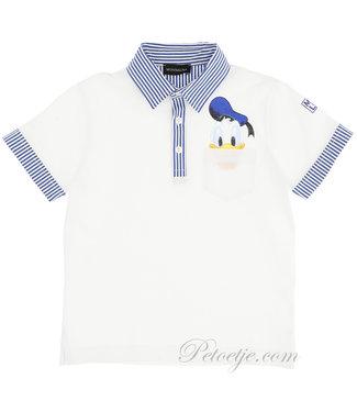 MONNALISA Boys White Cotton Disney Polo Shirt