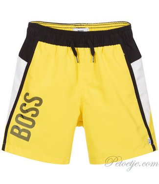 HUGO BOSS Kidswear  Yellow Logo Swim Shorts