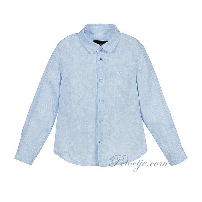 EMPORIO ARMANI Blue Eagle Logo Linen Shirt
