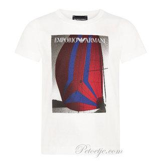 EMPORIO ARMANI Boys White Cotton Logo Top
