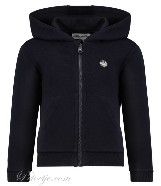 EMPORIO ARMANI Navy Blue Logo Zip-Up Top