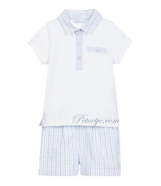 PATACHOU White & Blue Checked Shorts Set
