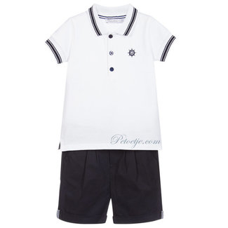 PATACHOU Jongens Wit & Blauwe Short Set