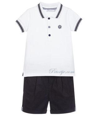 PATACHOU Boys White & Blue Shorts Set