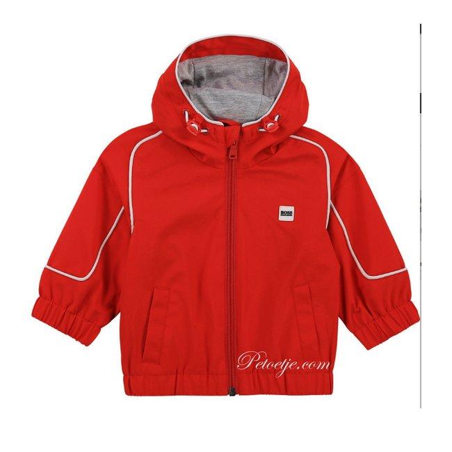 HUGO BOSS Kidswear  Boys Red Hooded Windbreaker Jacket