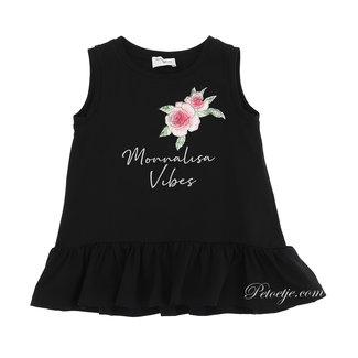 MONNALISA Girls Black Roses Top