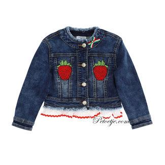 MONNALISA Blue Strawberry Denim Jacket