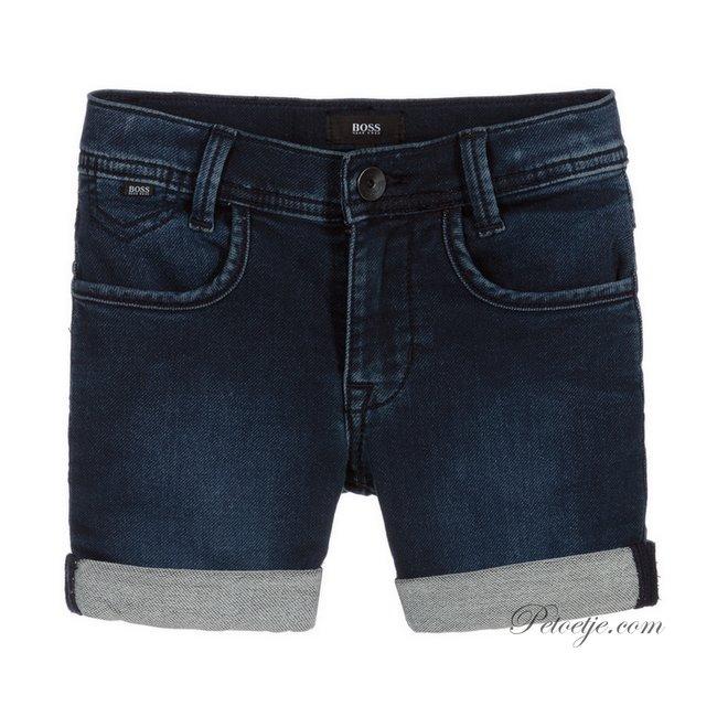 HUGO BOSS Kidswear  Blauwe Jersey Bermuda Short