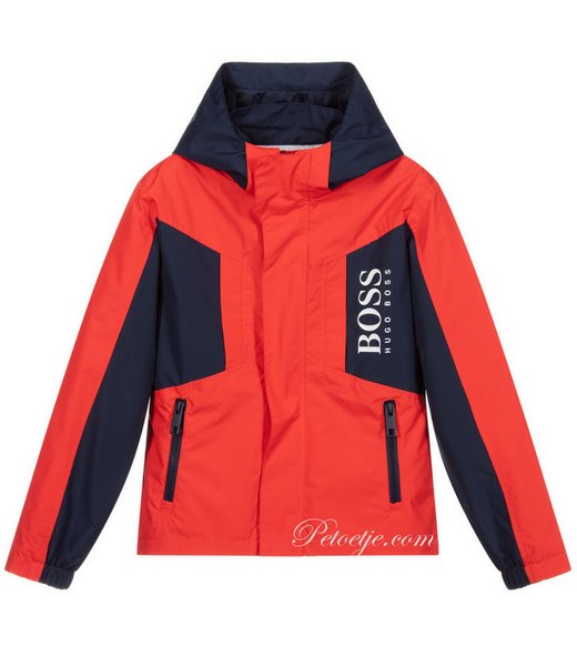 Red & Blue Logo Hooded Jacket