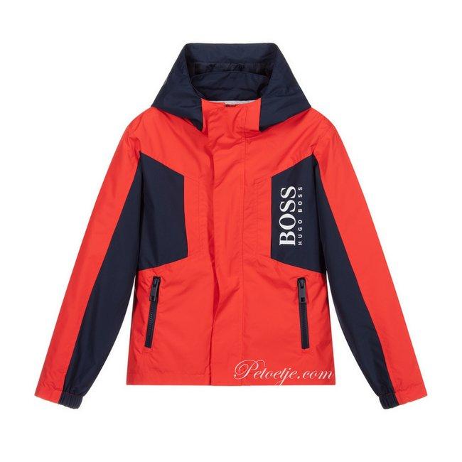 HUGO BOSS Kidswear  Red & Blue Logo Hooded Jacket