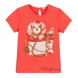 EMC Girls Coral Red Cotton Top