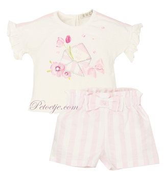 EMC White & Pink Baby Shorts Set
