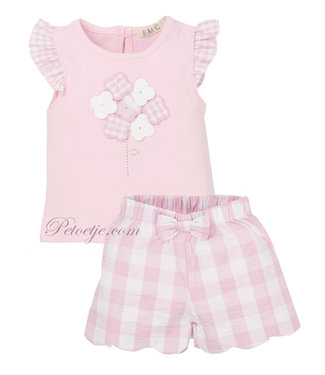 EMC Pink Baby Check Shorts Set
