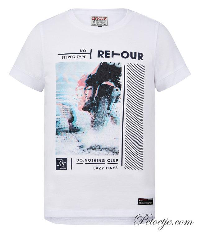 RETOUR Jeans Boys White Cotton T-Shirt