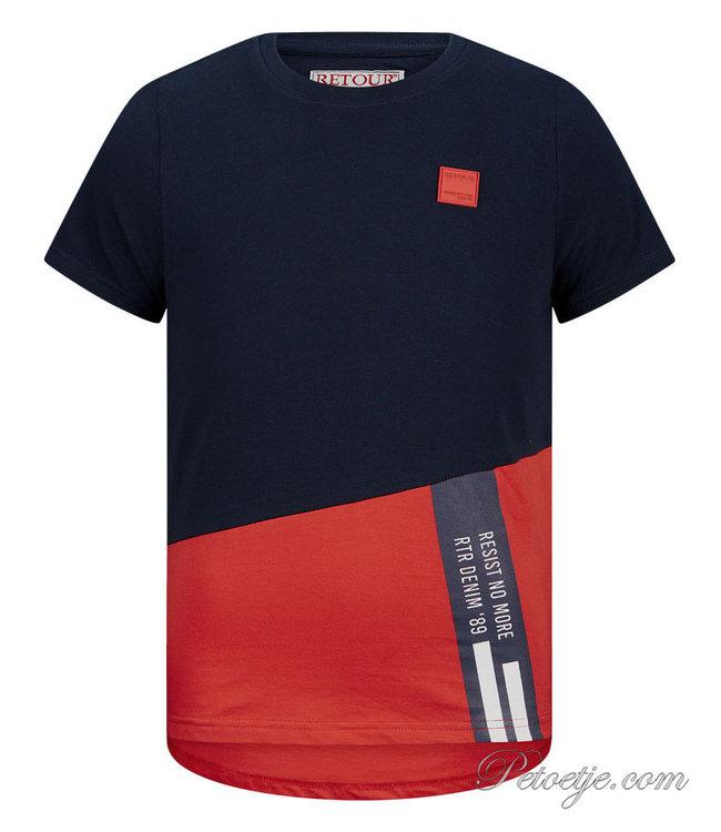 RETOUR Jeans Blue & Red T-Shirt - Gavin