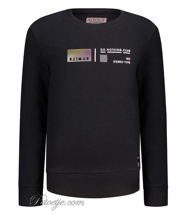 RETOUR Jeans Boys Black Cotton Sweater