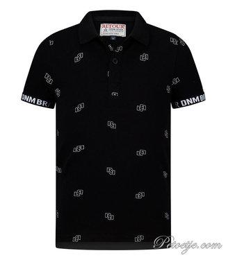 RETOUR Jeans Zwarte Logo Polo Shirt