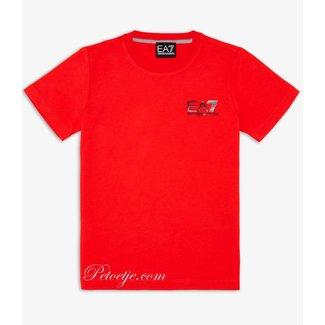 EMPORIO ARMANI EA7 Boys Red Cotton Logo T-Shirt