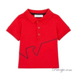 EMPORIO ARMANI Boys Red Logo Polo Shirt