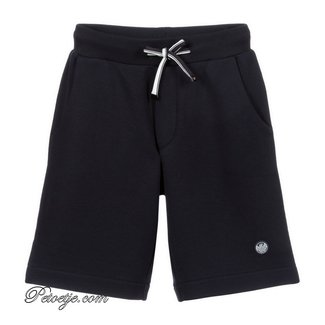 EMPORIO ARMANI Navy Blue Jersey Logo Shorts