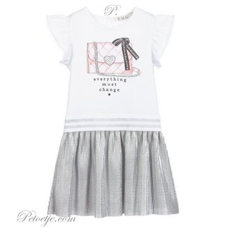 EMC Girls White & Silver Pleated Dress