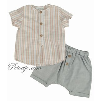 BARCELLINO Baby Boys Beige & Grey Shorts Set