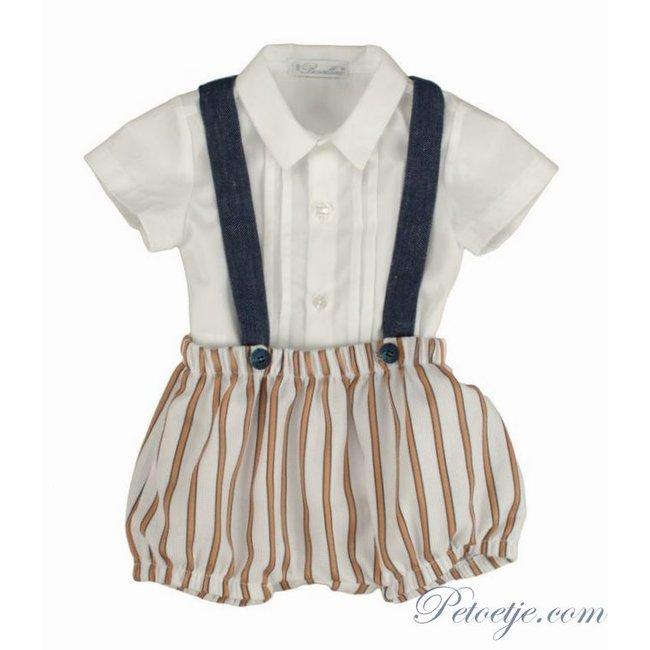 BARCELLINO Baby Boys White & Beige Shorts Set