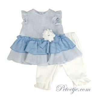 BARCELLINO Girls Blue & White Leggings Set