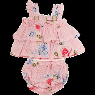 BALLOON CHIC Baby Roze Rozen Bloomer Set