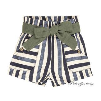 EMC Girls Blue & Golden Twill Shorts