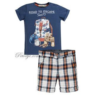 EMC Blue & Orange Check Shorts Set