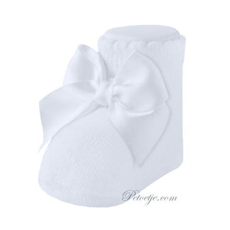 CARLOMAGNO - Socks Newborn Satin Bow Ankle Socks White