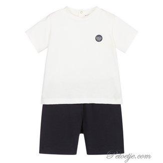 EMPORIO ARMANI Ivory & Navy Blue Shorts Set