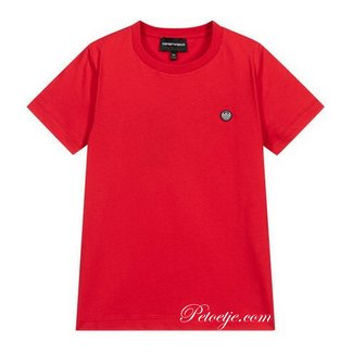 EMPORIO ARMANI Red Cotton Logo T-Shirt