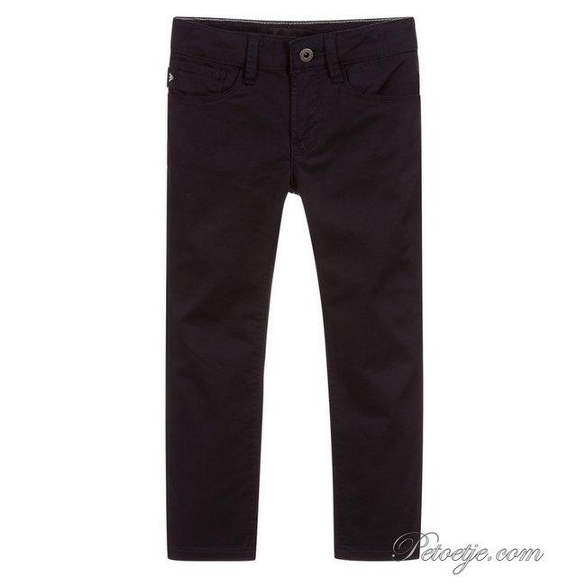 EMPORIO ARMANI Boys Navy Blue Cotton Jeans Trousers