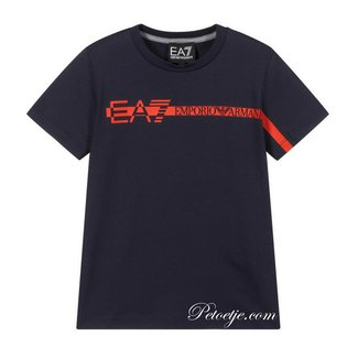 EMPORIO ARMANI EA7 Navy Blue Cotton Logo T-Shirt