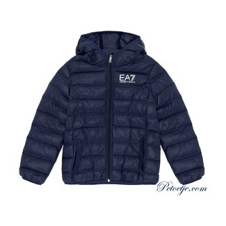 EMPORIO ARMANI EA7 Navy Blue hooded puffer jacket