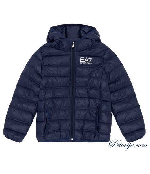 EA7 Navy Blue hooded puffer jacket