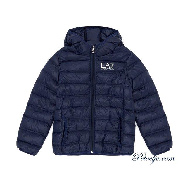 EMPORIO ARMANI EA7 Navy Blue hooded puffer jacket