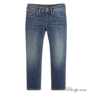 EMPORIO ARMANI Boys Blue Denim Logo Jeans