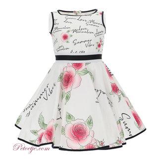 MONNALISA White Poplin Roses Dress