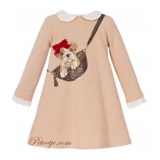 BALLOON CHIC Girls Beige Jersey Dress - Dog