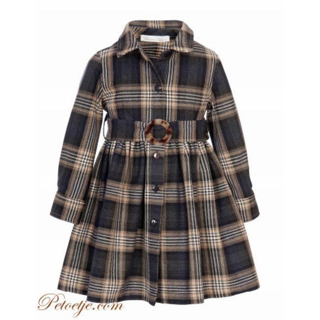 BALLOON CHIC Beige & Grey Check Shirt Dress