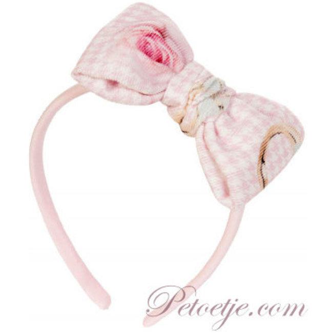BALLOON CHIC Girls Pink Houndstooth Hairband